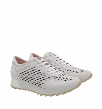 Tosca Blu sneaker donna forata in nappa+nabuk bianco