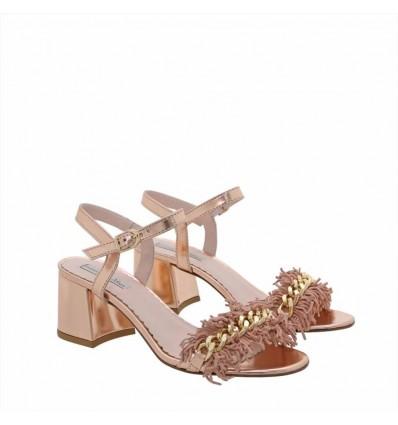 Tosca Blu sandalo donna in pelle specchio con frange e catena