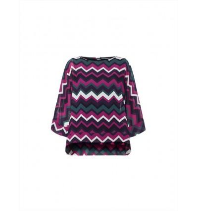 Emme Marella Balza camicia blusa da donna in georgette stampata a fantasia geometrica