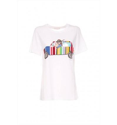 Luckylu t-shirt da donna in cotone manica corta stampa macchina